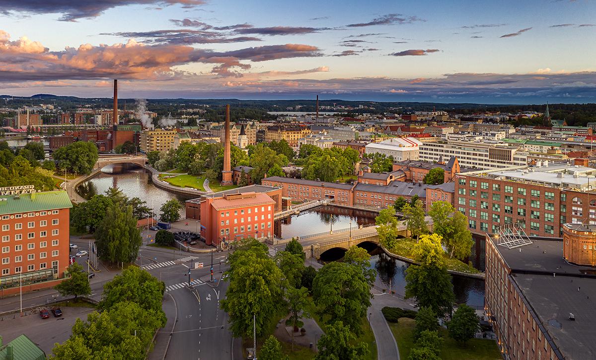 Ilmakuva Tampereen ydinkeskustasta.