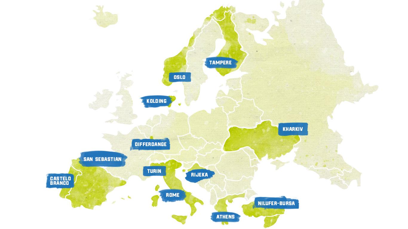 Euroopan kartta kaupungeista, jotka ovat mukana FUSILLI-hankkeessa