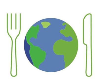 Vihreä haarukka ja veitsi, joiden keskellä maapallo kuvaamassa lautasta.